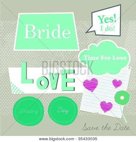 Cute  scrapbook elements for Bride