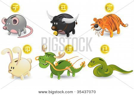 Piggy Bank of Chinese Zodiac Icon Set: Rat, Ox, Tiger, Rabbit, Dragon, Snake