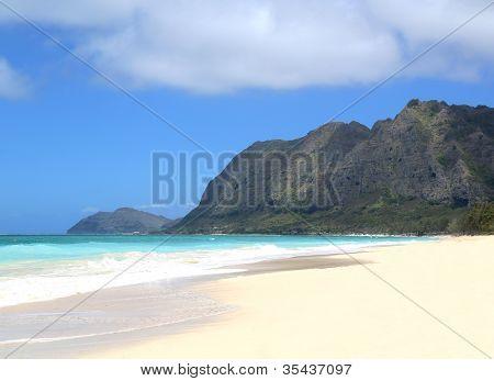 An Empty Beach Scene In Hawaii