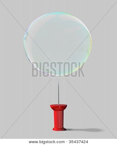 Push Pin And Soap Bubble