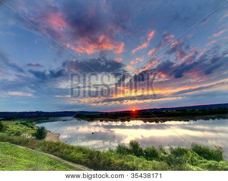 Wonderful Sunrise Over River