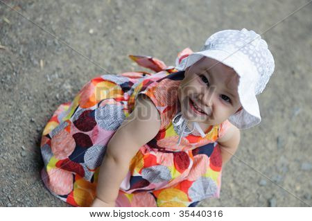 Cute Baby Girl In White Hat