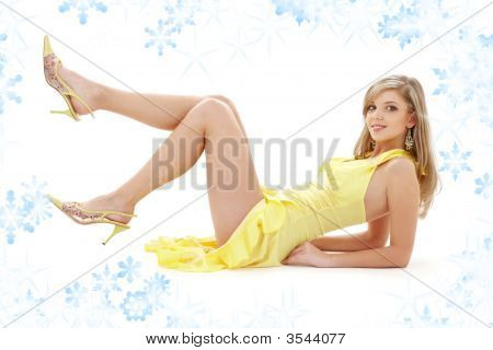 Laying Girl In Yellow Dress