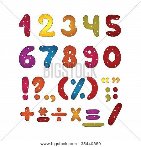 Funny glossy number set