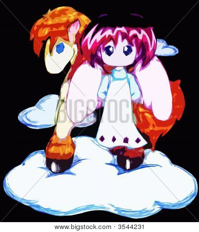 Angel And Horsy On Cloud In Colour
