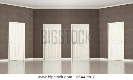 Brown Empty Room With Four Doors