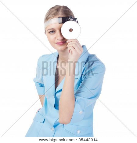 Portrait Of A Girl Doctor In A Mask. Phonendoscope