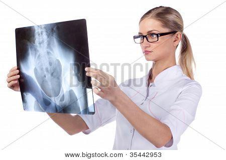 Portrait Of Girl Doctor Ecg, X-ray