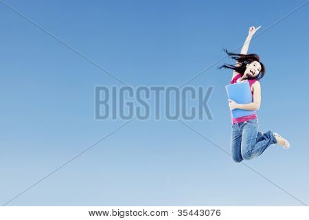 College Student Jumping With Copyspace