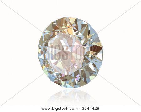 Diamante isolado no fundo branco. Vista frontal.