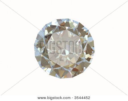Diamond Isolated On White. Front View.