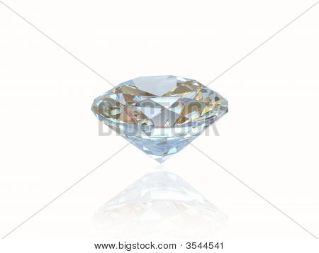Diamond Isolated On White Background. Front View.