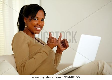 Positive Pretty Afro-american Woman Looking At You
