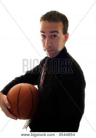 Businessman Holding Basketball