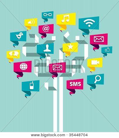 Social Media Network Business Tree