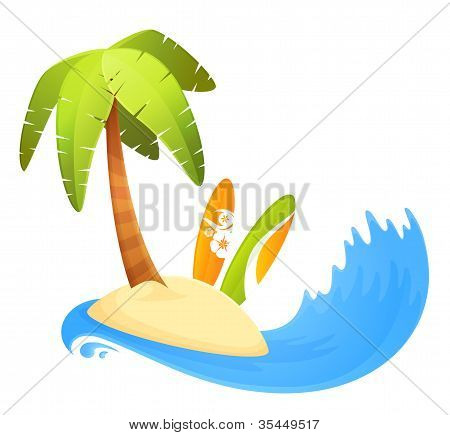 Summer Illustration Of A Palm Island