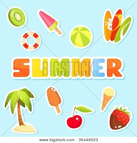Colorful Collection Of Cute Summer Theme Illustrations