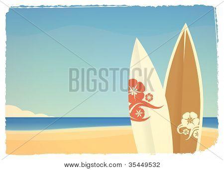 Fundo de mar com pranchas de surf em cores retrô