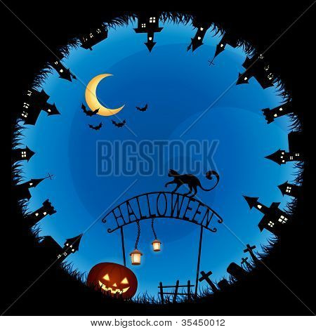 Halloween Theme Illustration For Children