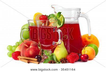 Sangría y frutas