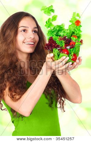 Woman With Bowl Of Salad