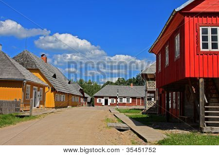 Old colorfull wooden village