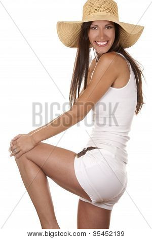 Frau im Beachwear