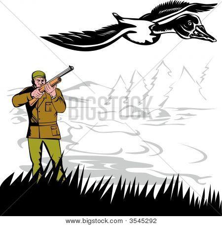Hunter Aiming At Duck