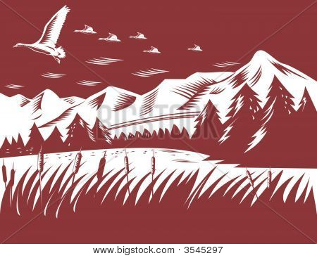 Ducks Flying With Landscape In The Background