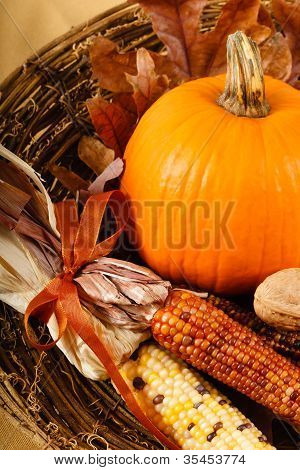 Fall Decorations With Pumpkin And Indian Corn
