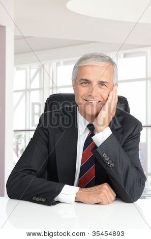 Smiling middle aged businessman seated at a desk in a modern office building. Vertical format with mans face resting on his hand.