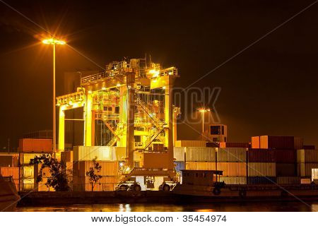 Mobility Crane car in commercial container cargo port for shipping