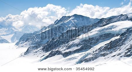 Great Aletsch Glacier Jungfrau region,Part of Swiss Alps Alpine Snow Mountain Landscape at Switzerland.