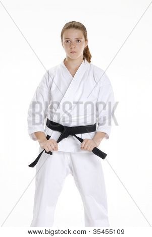 Martial arts girl portrait.karate girl portrait.Martial arts and karate kid portrait.