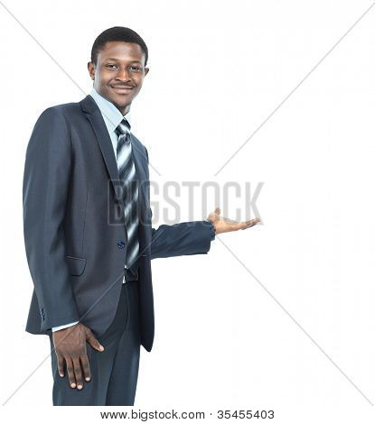 Business man showing something on the palm of his hand