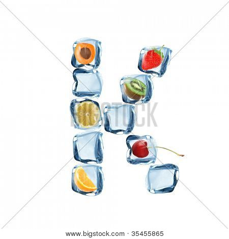 Fruit and ice cube letter over white background