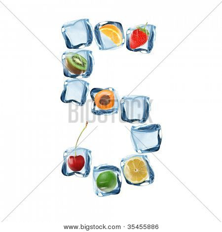 Fruit and ice cube number over white background