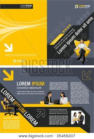 Plantilla amarilla para el folleto de publicidad con empresarios