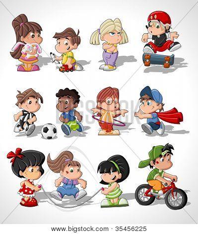 Cute happy cartoon kids playing