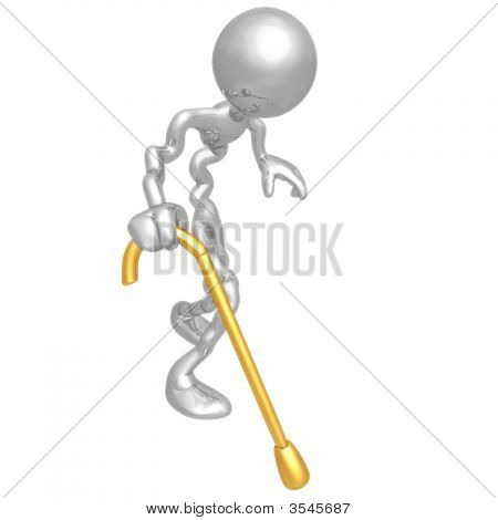 Old Man Walking With Cane