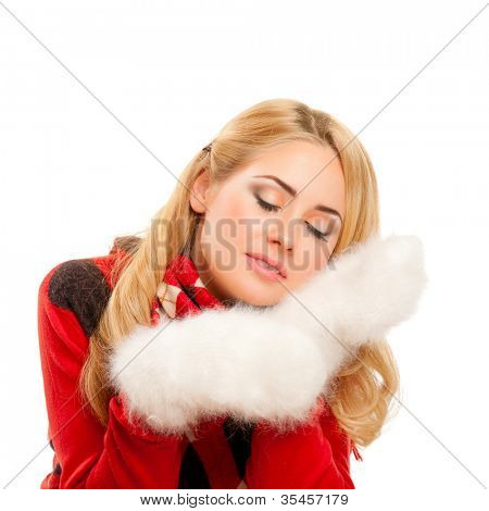 Young woman with fleecy mittens isolated