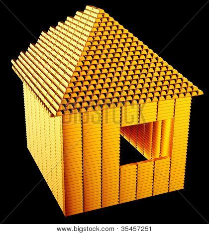 Expensive Realty:: Gold Bars House Shape