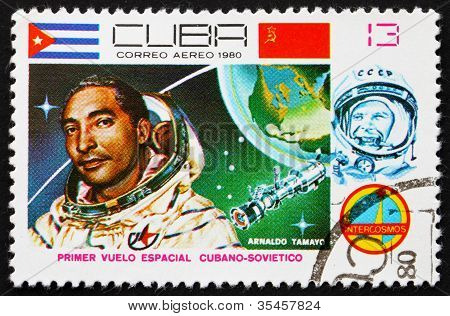 Postage stamp Cuba 1980 Arnaldo Tamayo Mendez, Intercosmos