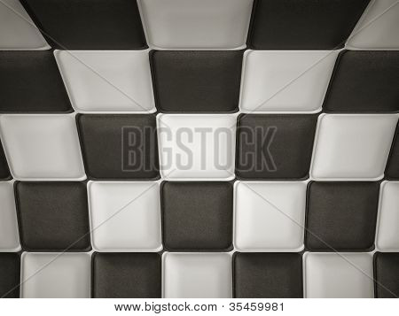 Incurved Chequered Leather Pattern With Rectangle Segments