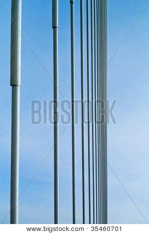 big guyed bridge shrouds background over sky
