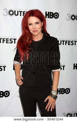 LOS ANGELES - JUL 22:  Gretchen Bonaduci (Re-inventing Bonaduce) arrives at the 2012 Outfest Closing Night Gala of
