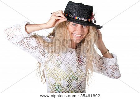Hippie Femal With Las Vegas Hat