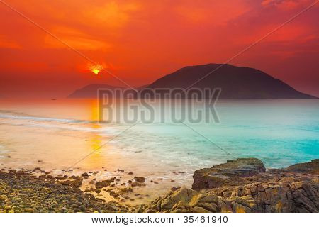Sunrise over the sea. Con Dao. Vietnam