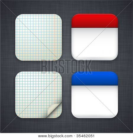 Vector illustration of high-detailed paper apps icon set.
