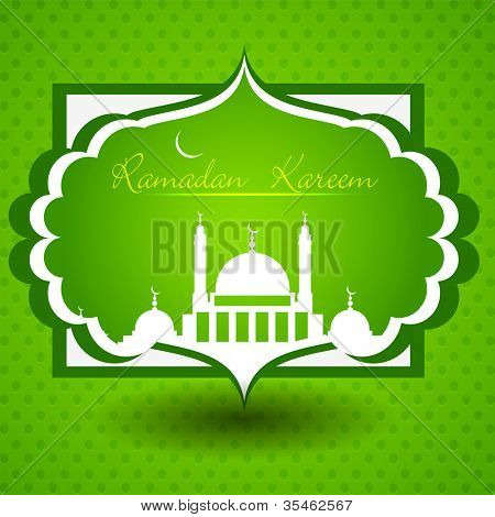 Ramadan Kareem or Ramazan Kareem text with Mosque or Masjid. EPS 10.